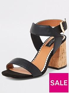 river-island-wide-fit-two-part-cork-sandals-black