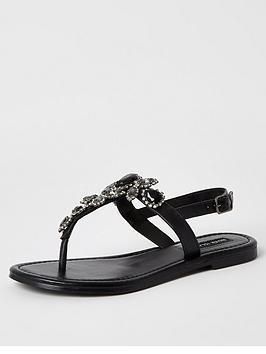 river-island-embellished-leather-thong-sandals-black