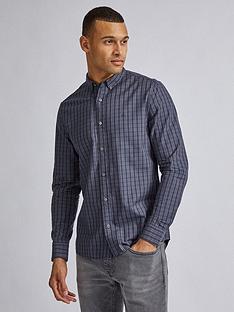 burton-menswear-london-ox-check-long-sleeve-shirt-grey