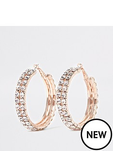 river-island-river-island-chunky-diamante-hoop-earrings-rose-gold