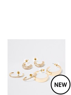 river-island-river-island-pave-bar-stud-and-hoop-earring-pack-gold