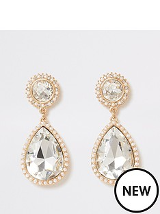 river-island-river-island-pearl-diamante-teardrop-dangle-earrings-gold