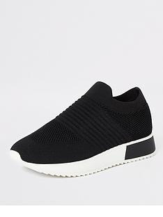 river-island-knit-trainer-black