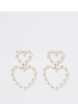 river-island-pearl-diamante-double-heart-drop-earrings-gold