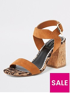 river-island-river-island-wide-fit-two-part-cork-sandal-tan