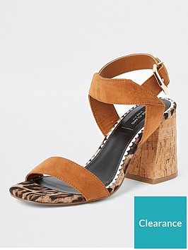 river-island-wide-fit-two-part-cork-sandals-tan