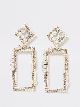 river-island-pearl-crystal-rectangle-drop-earrings-gold