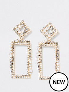 river-island-river-island-pearl-crystal-rectangle-drop-earrings-gold