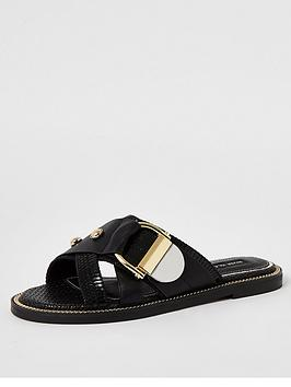 river-island-buckle-slip-on-mule-sandals-black