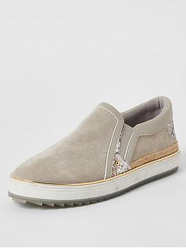 river-island-slip-on-plimsole-grey