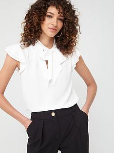 v-by-very-pussybow-longline-blouse-ivory