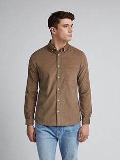 burton-menswear-london-cord-long-sleeve-shirt-brown