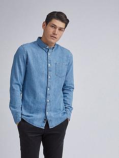 burton-menswear-london-light-wash-long-sleeve-denim-shirt-blue