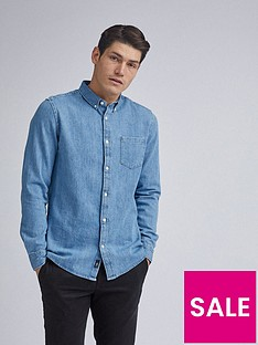 burton-menswear-london-light-wash-long-sleeve-denim-shirt-blue