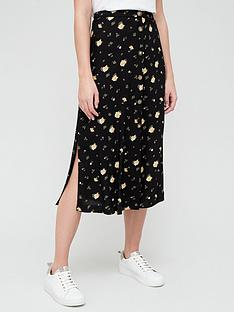 v-by-very-spun-split-midi-skirt-black-floral