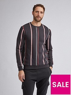 burton-menswear-london-vertical-stripe-crew-neck-sweatshirt-blacknbsp