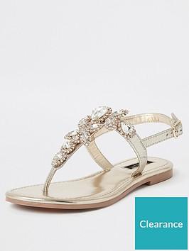 river-island-wide-fit-embellished-thong-leather-sandal-gold