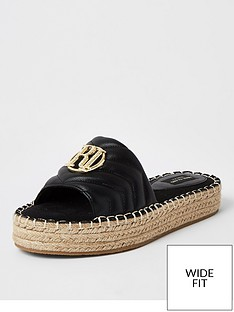 river-island-river-island-wide-fit-quilted-espadrille-mule-black