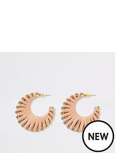 river-island-river-island-wrapped-raffia-diamante-hoop-earrings-gold