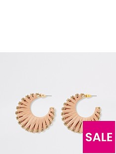 river-island-river-island-wrapped-raffia-diamante-hoop-earrings-gold
