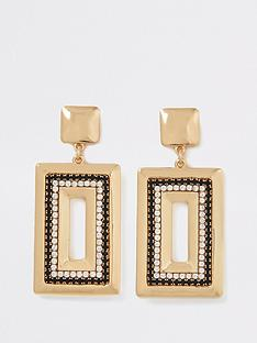 river-island-river-island-black-and-gold-rectangle-drop-earrings-gold