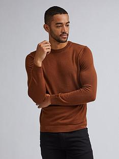 burton-menswear-london-merino-crew-jumper-brownnbsp