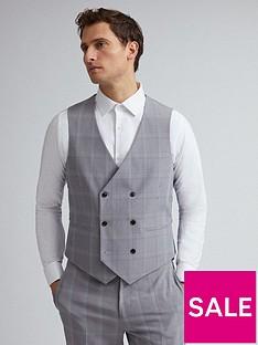 burton-menswear-london-check-slim-fit-suit-waistcoat-ndash-grey