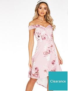quiz-floral-strappy-low-back-frill-hem-midi-dress-pink