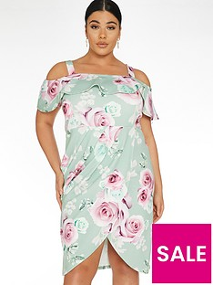 quiz-curve-floral-wrap-bardot-dress-sage-green