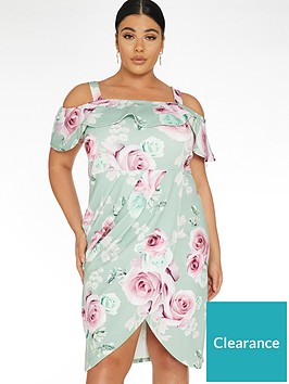 quiz-curve-floral-wrap-bardot-dress-sage-green