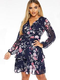 quiz-floral-wrap-balloon-sleeve-tiered-dress-blue