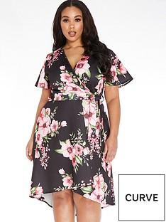 quiz-curve-floral-dip-hem-dress-blackpink