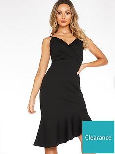quiz-marcella-strappy-wrap-asymmetrical-frill-midi-dress-black