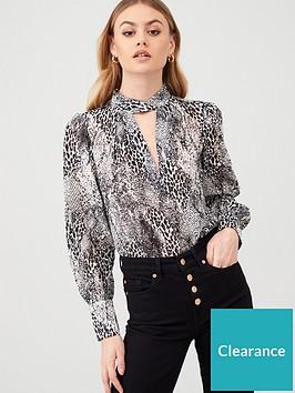 river-island-printed-twist-neck-blouse-grey
