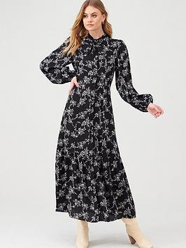 river-island-pussybow-smock-midi-dress-black