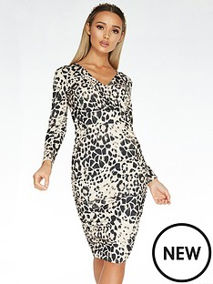 quiz-scuba-crepe-animal-print-long-sleeve-wrap-ruched-side-midi-dress-stone