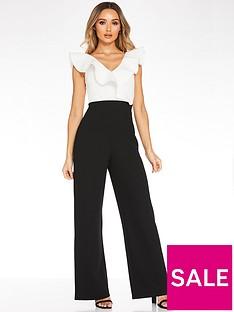 quiz-scuba-contrast-frill-front-dip-palazzo-jumpsuit-creamblack