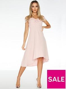 quiz-scuba-crepe-bardot-knot-dip-hem-dress-blush-pink