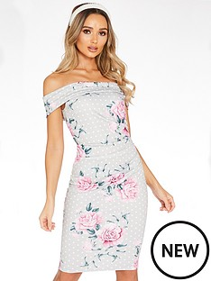 quiz-polka-dot-floral-wrap-dip-bardot-midi-dress-grey