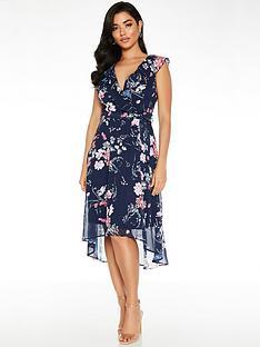 quiz-floral-frill-front-dip-hem-midi-dress-blue