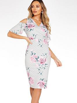 quiz-bardot-midi-dress-with-frill-sleeve-grey