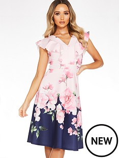 quiz-floral-print-v-neck-frill-skater-dress-navyfloral