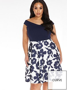 quiz-curve-floral-skater-dress-creamnavy