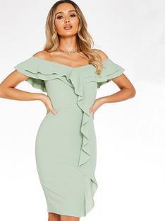 quiz-scuba-crepe-bardot-frill-front-midi-dress-sage-green