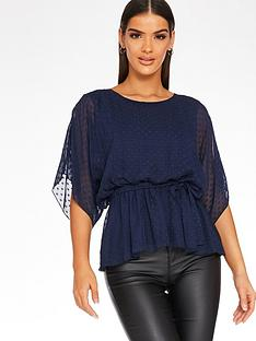 quiz-dobby-chiffon-batwing-belted-top-navy