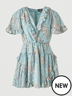 ax-paris-chiffon-frill-skater-dress-duck-egg