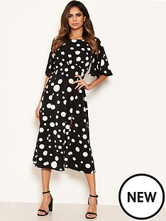 ax-paris-polka-dot-midi-dress-black