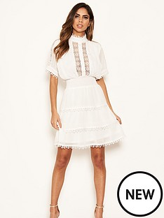ax-paris-petite-chiffon-frill-skater-dress-cream
