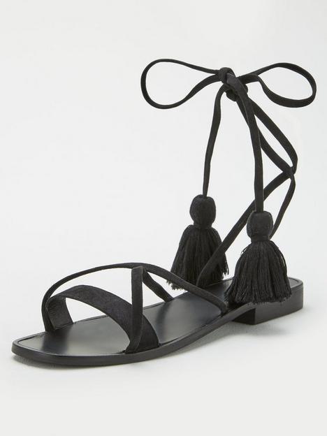 v-by-very-heather-leather-tie-leg-tassel-sandal-black