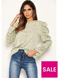ax-paris-frill-sleeved-printed-top-mint